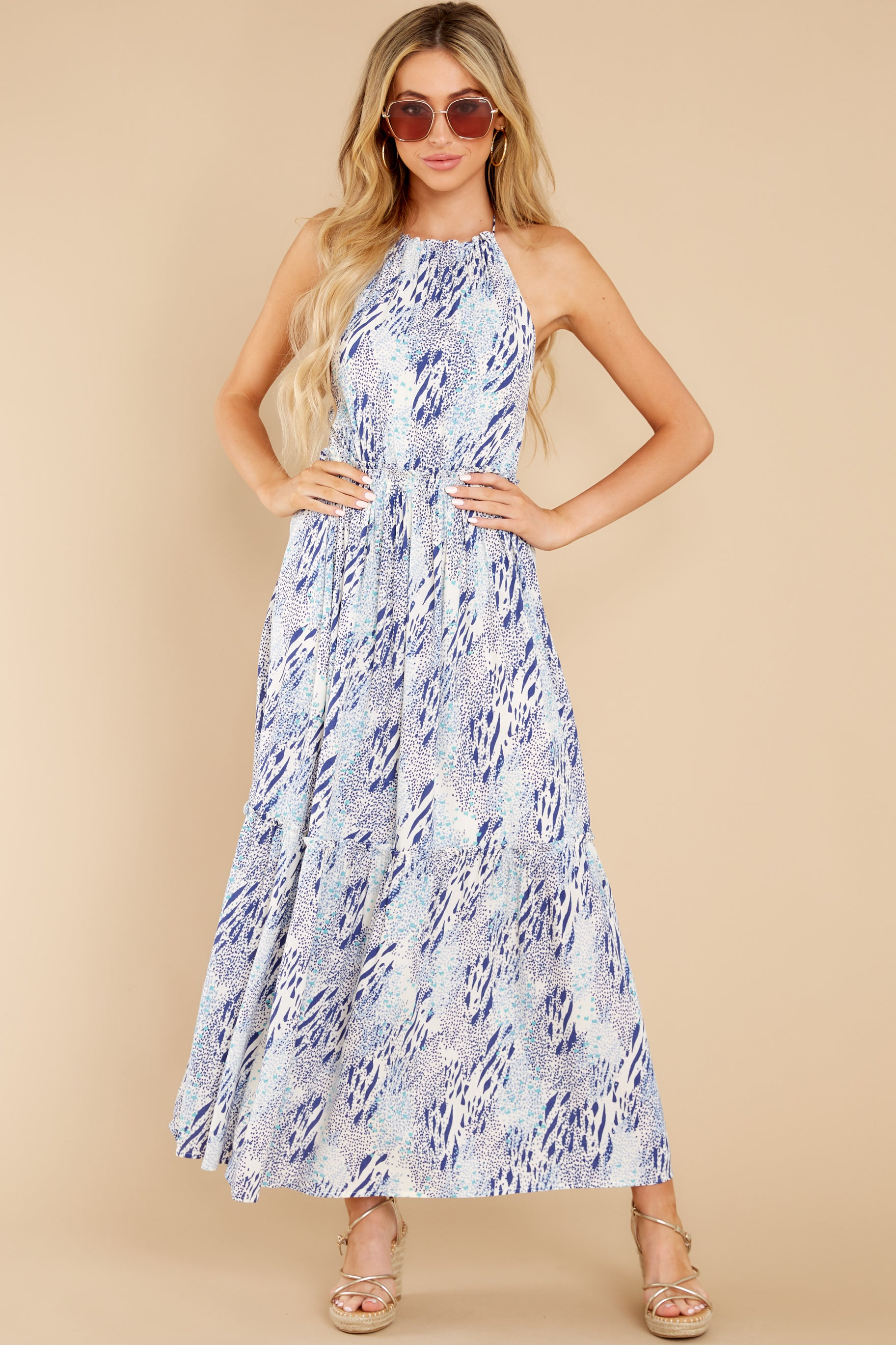 6 Standing Water Blue Multi Print Maxi Dress at reddress.com