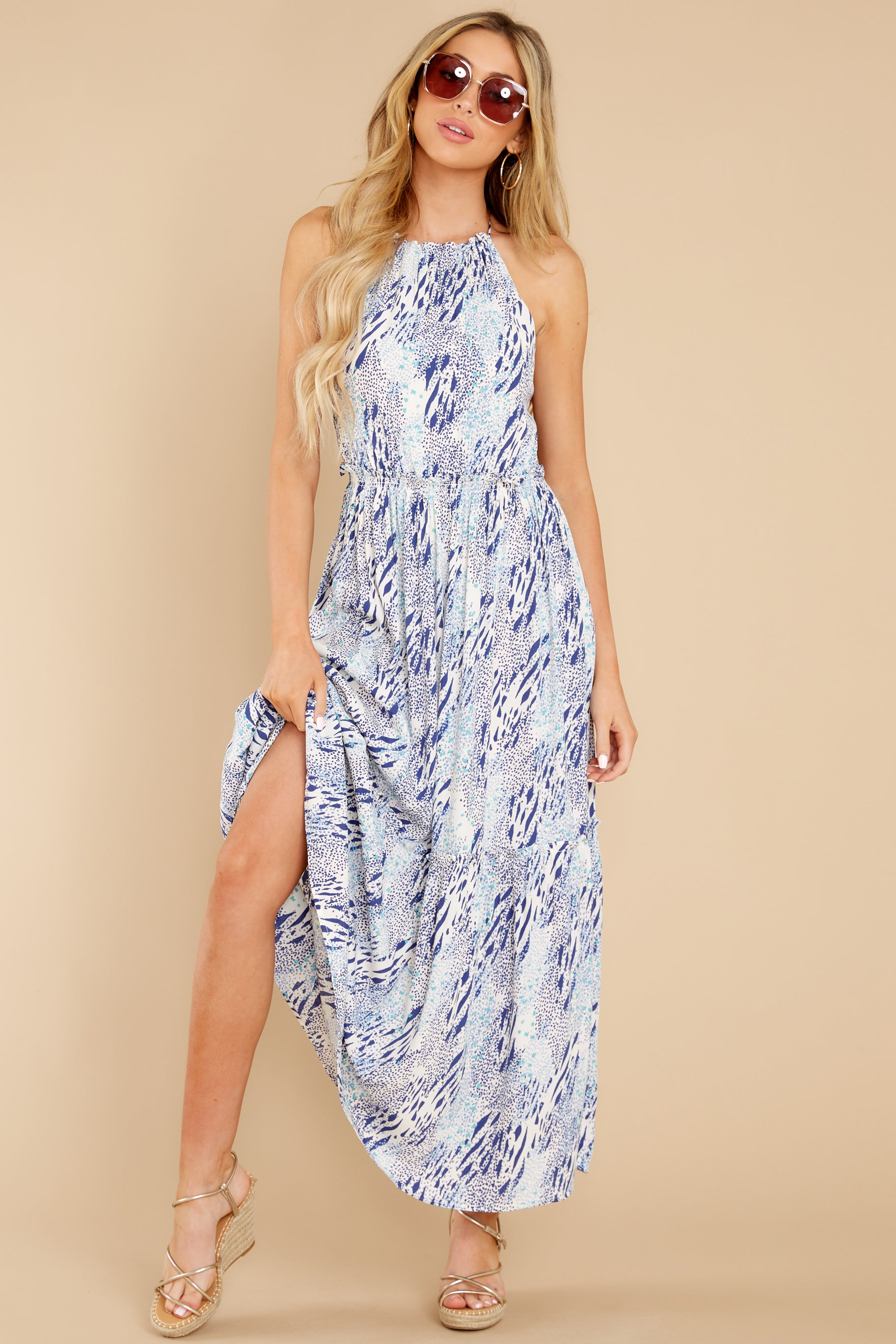 3 Standing Water Blue Multi Print Maxi Dress at reddress.com