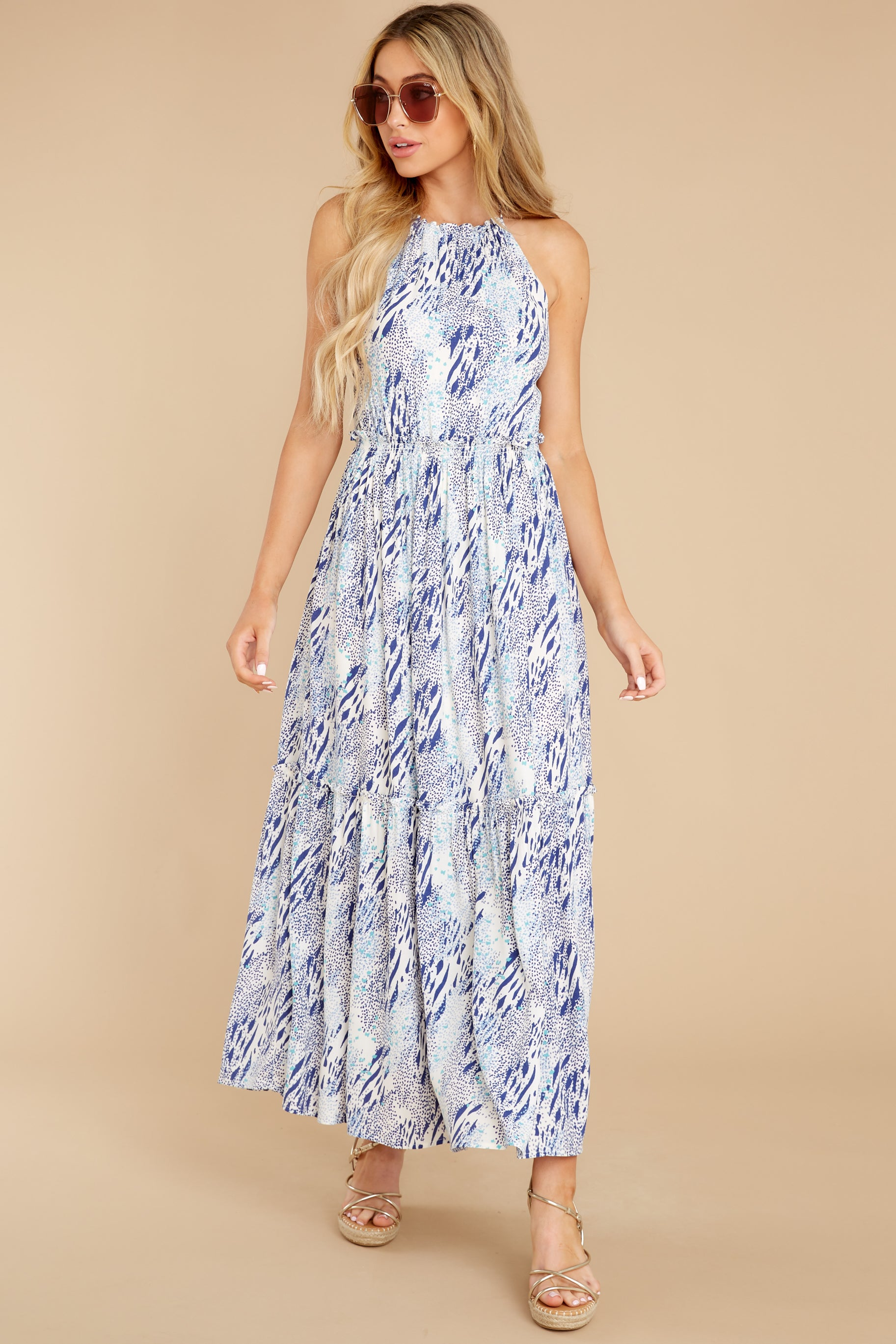 4 Standing Water Blue Multi Print Maxi Dress at reddress.com