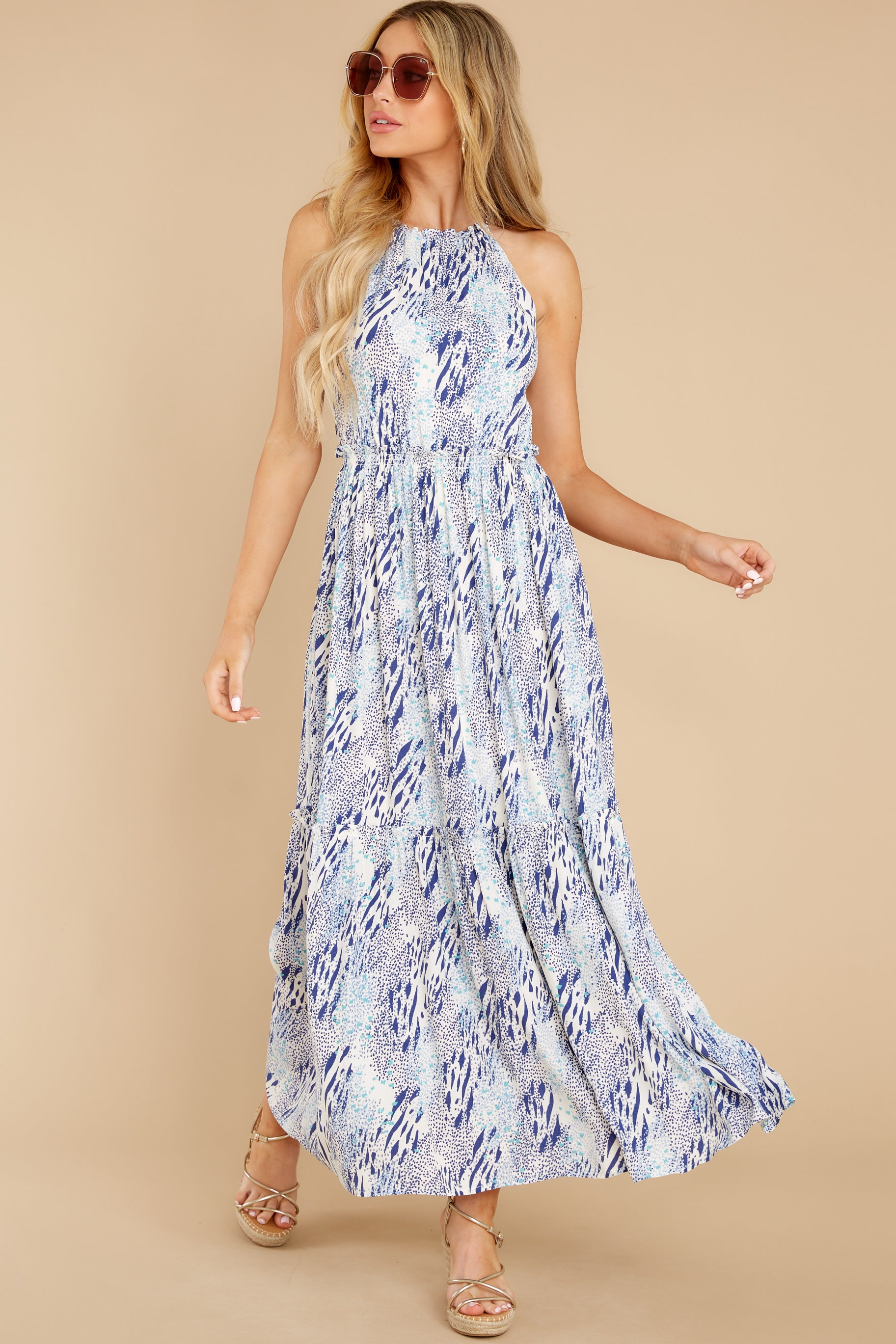 2 Standing Water Blue Multi Print Maxi Dress at reddress.com