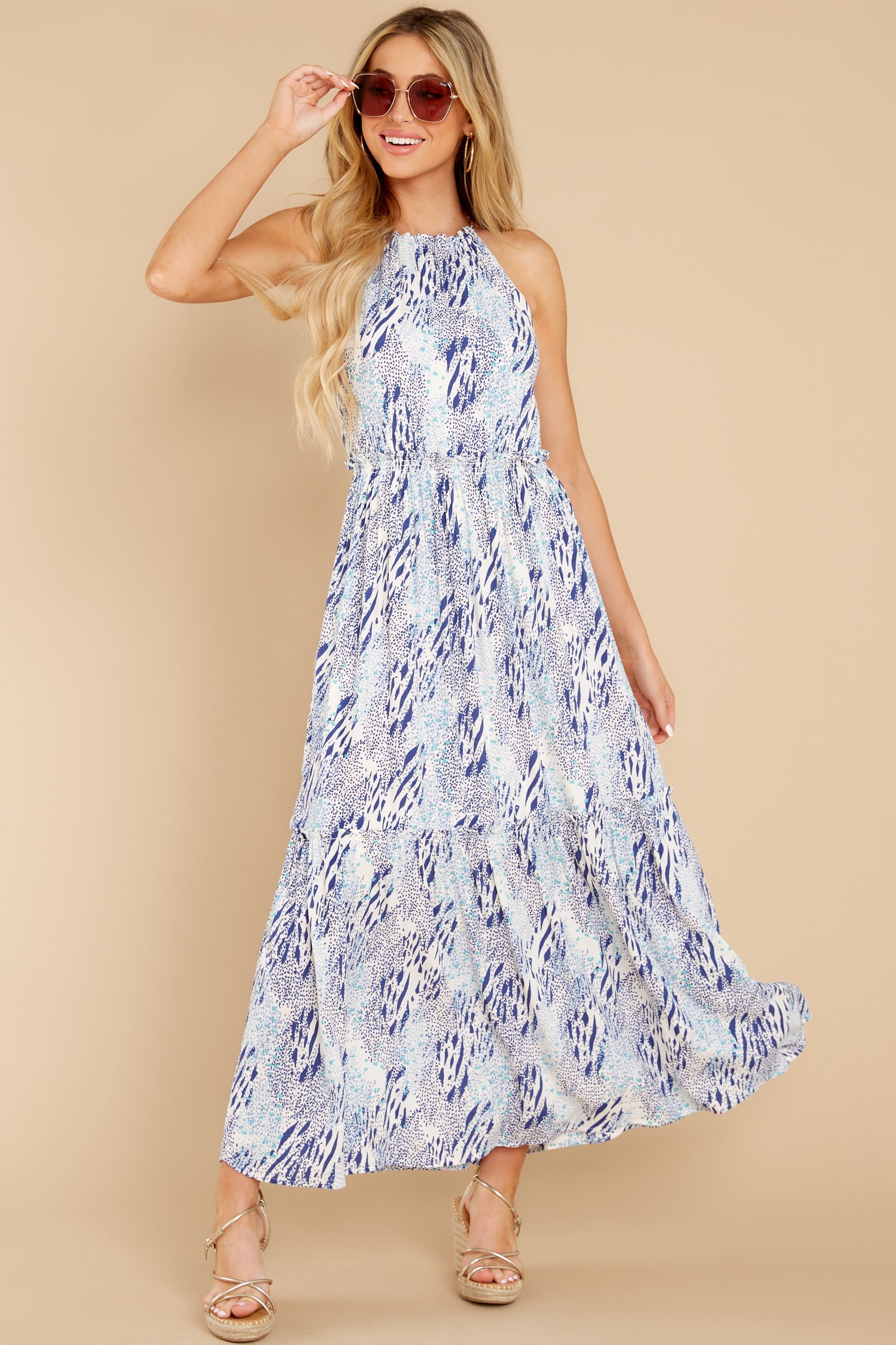 1 Standing Water Blue Multi Print Maxi Dress at reddress.com