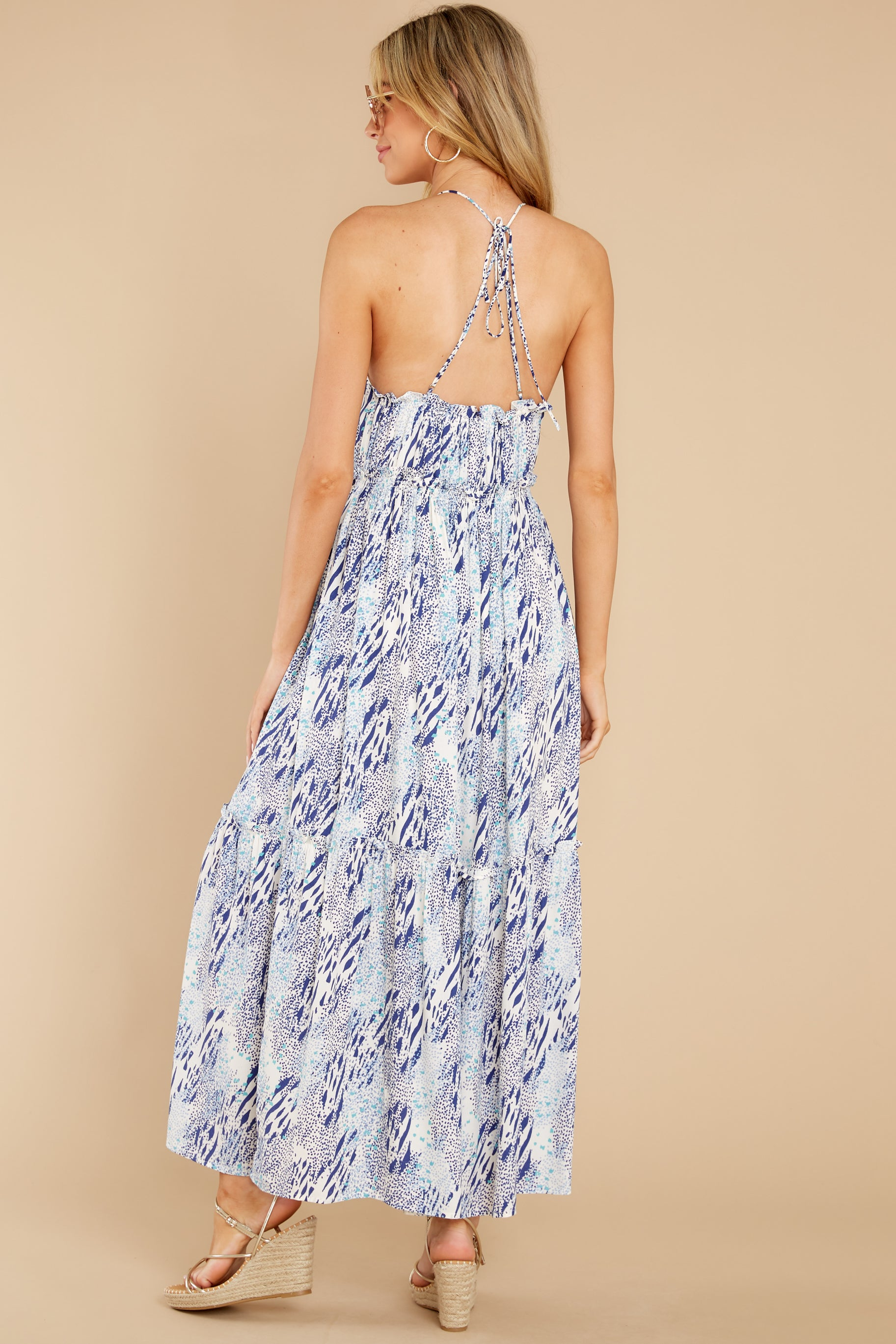 8 Standing Water Blue Multi Print Maxi Dress at reddress.com