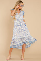 5 Nothing But Us Blue Floral Print Midi Dress at reddress.com