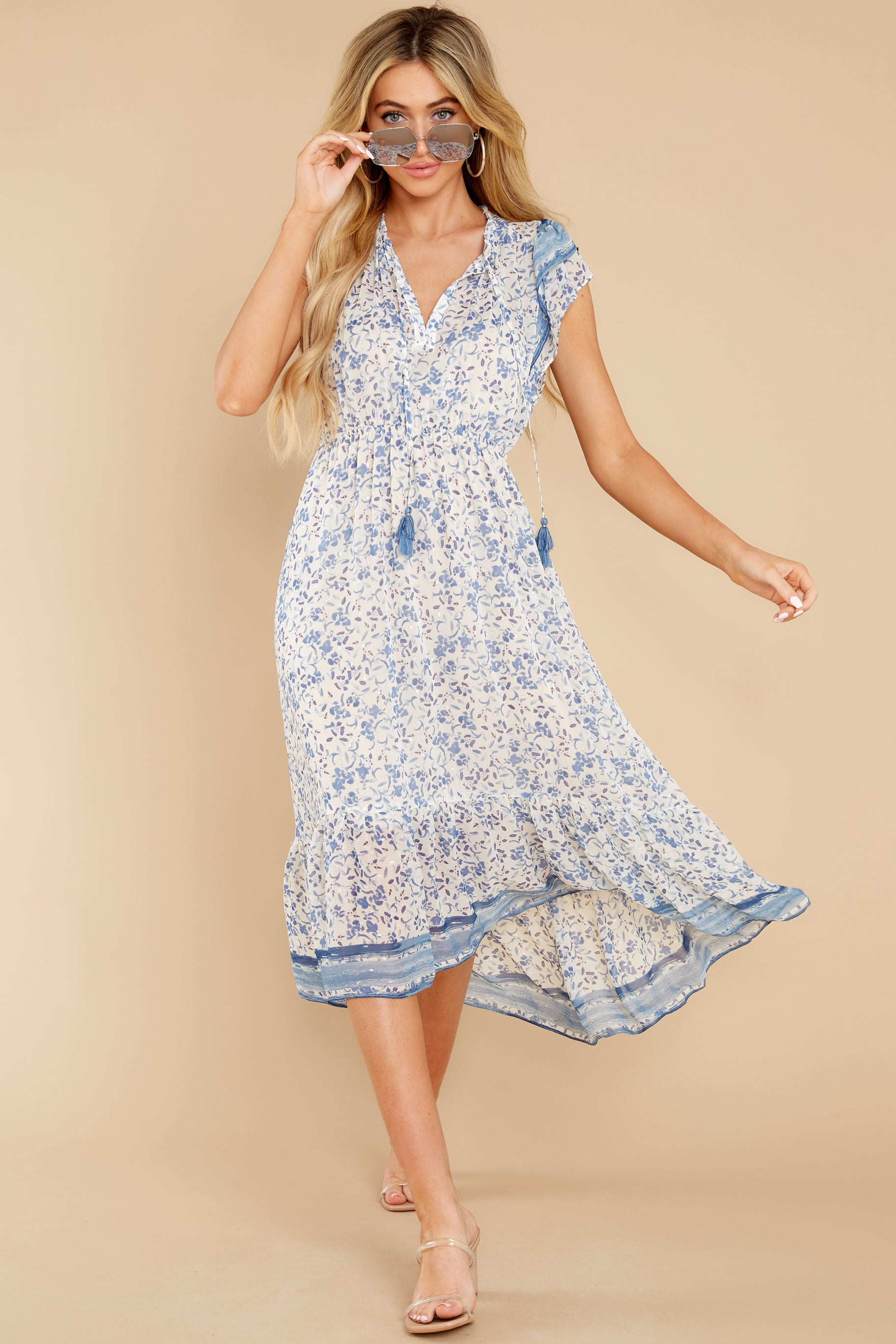 3 Nothing But Us Blue Floral Print Midi Dress at reddress.com