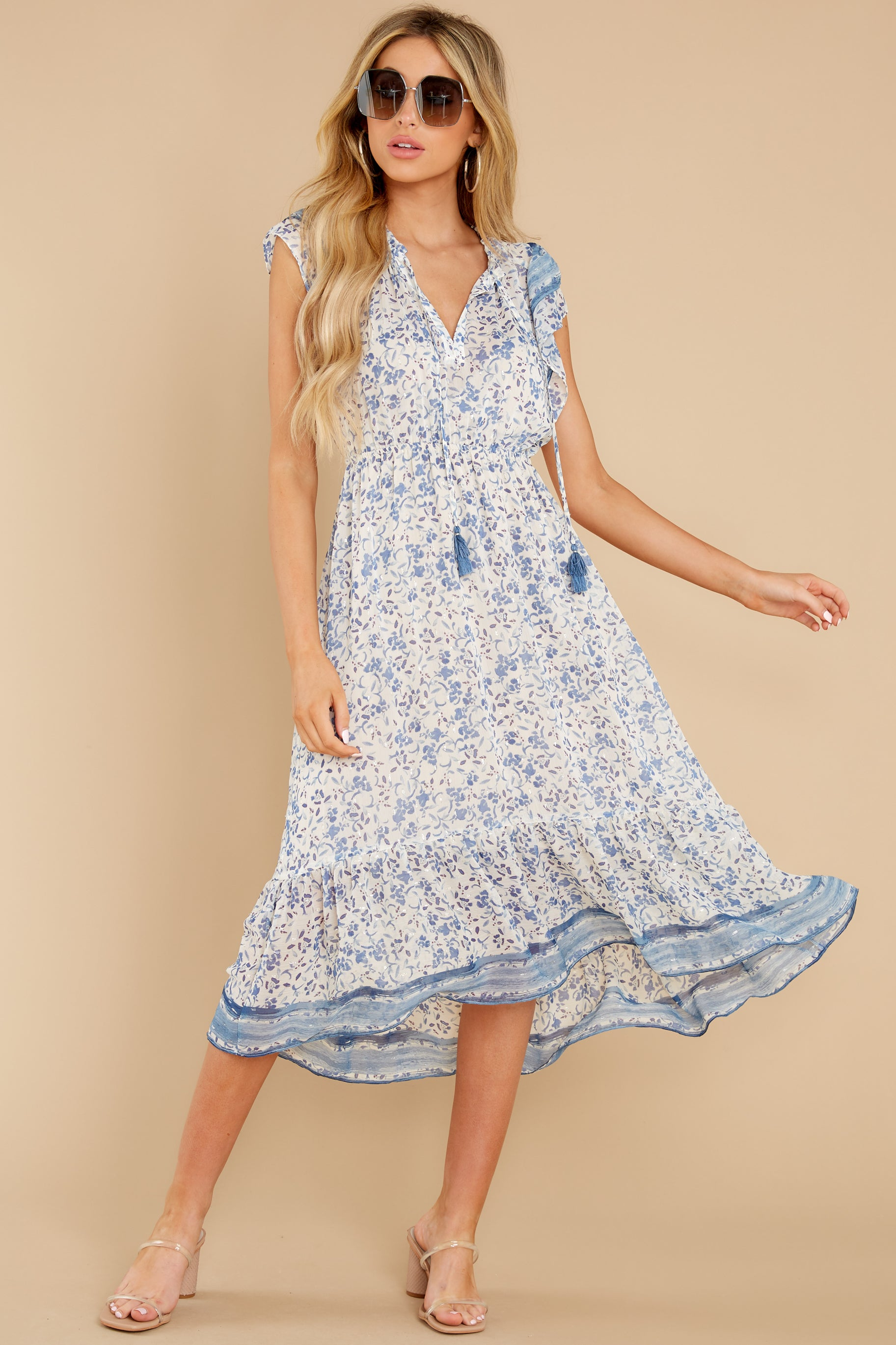 2 Nothing But Us Blue Floral Print Midi Dress at reddress.com