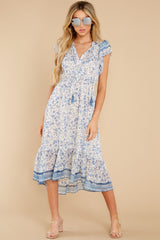 1 Nothing But Us Blue Floral Print Midi Dress at reddress.com