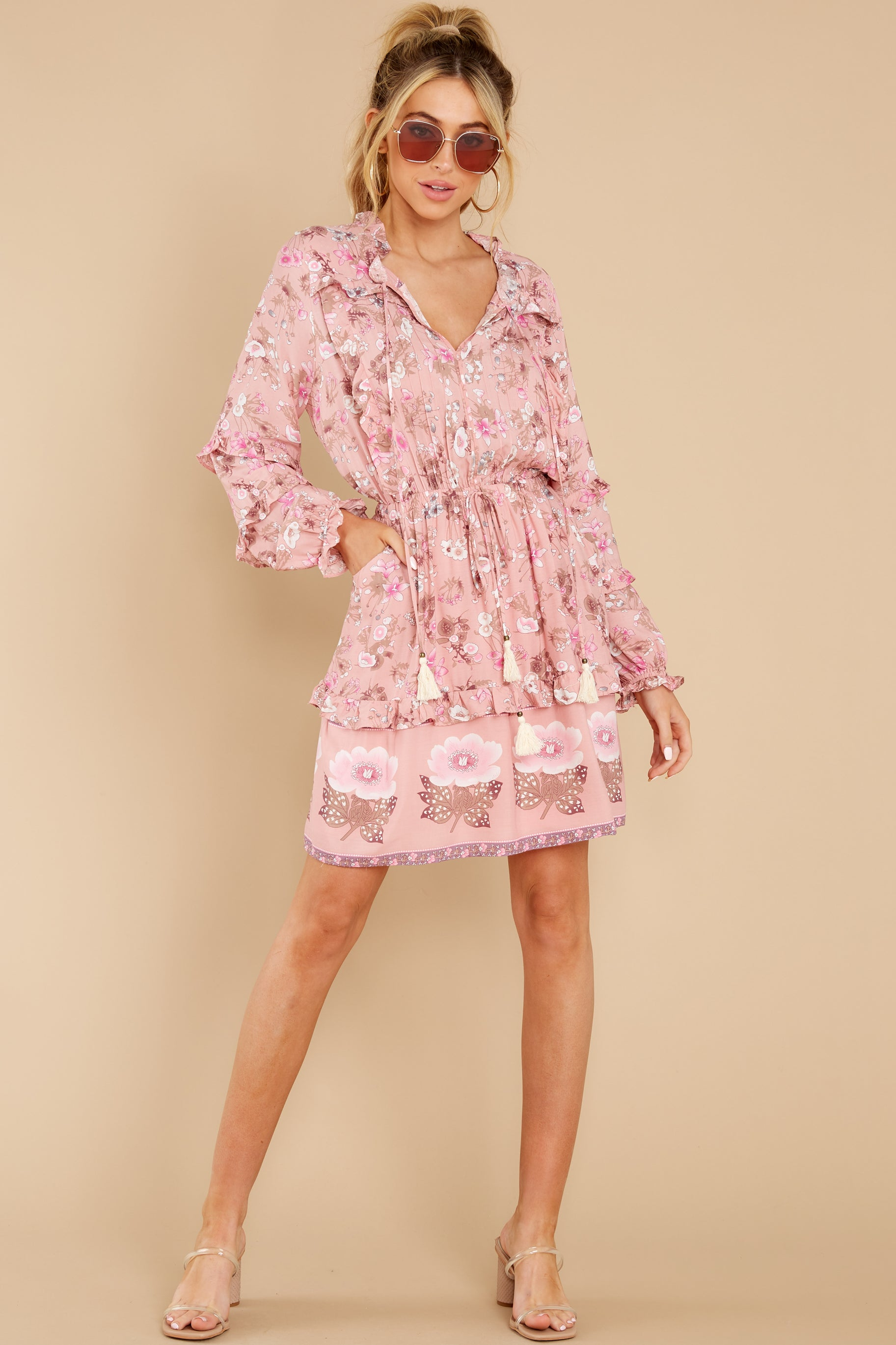 4 Ventura Nights Mauve Pink Floral Print Dress at reddress.com