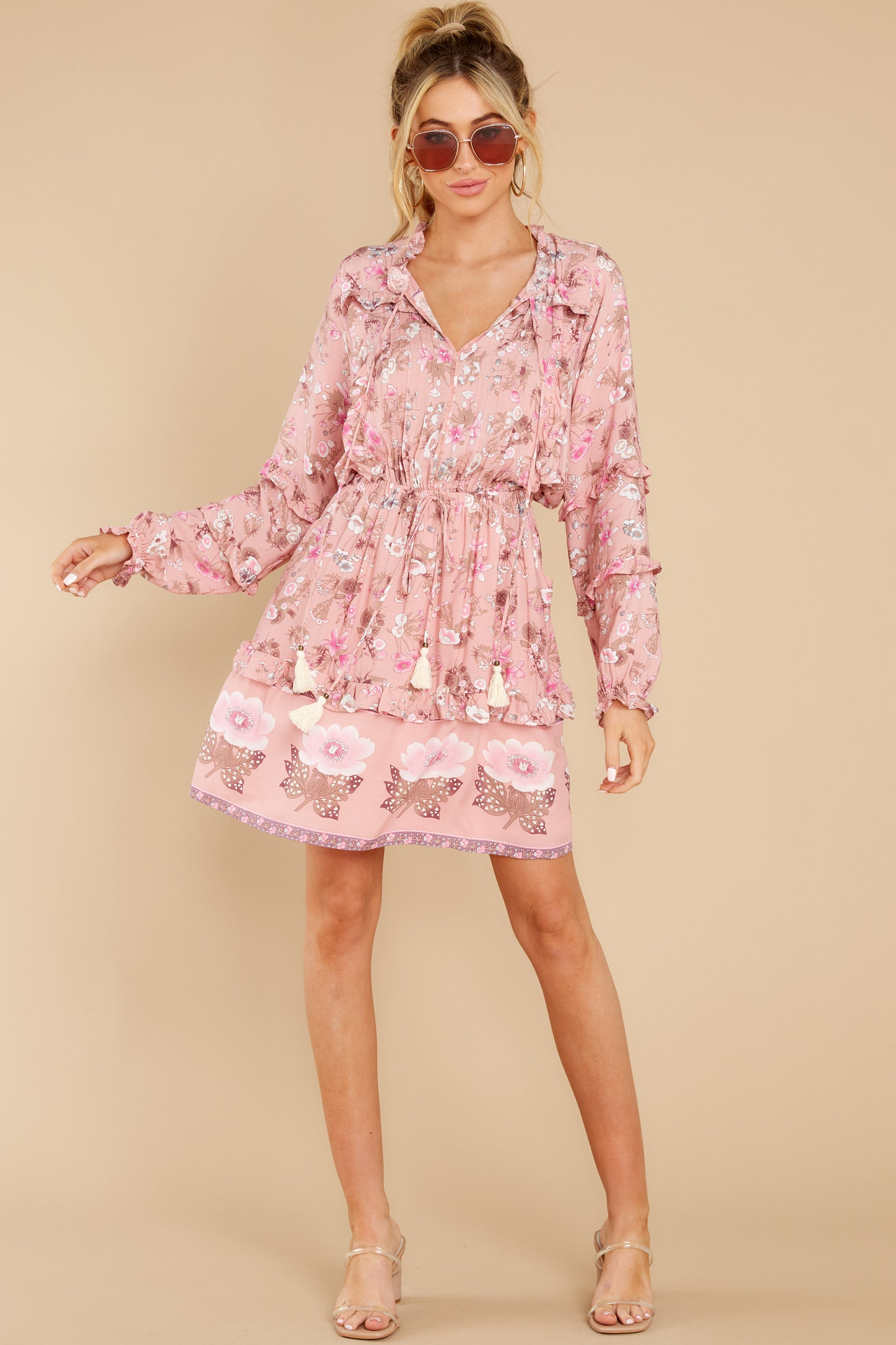 2 Ventura Nights Mauve Pink Floral Print Dress at reddress.com