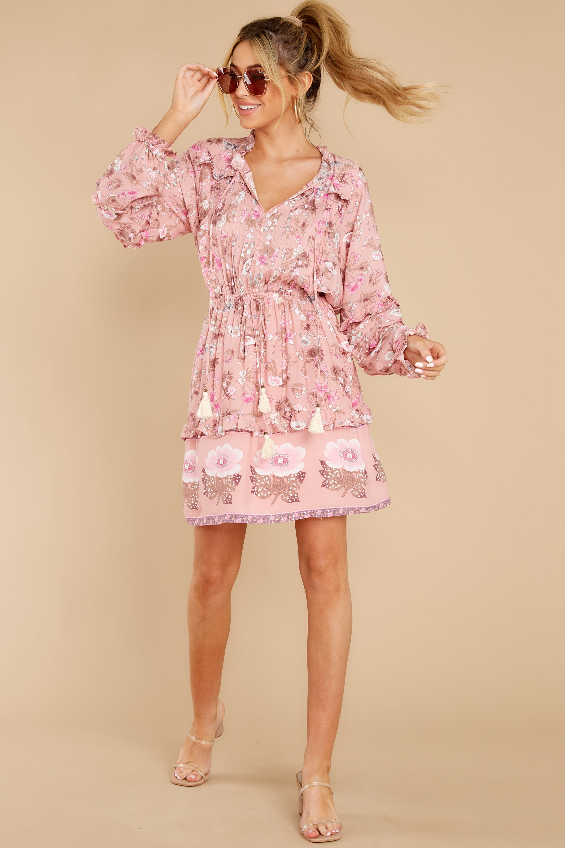3 Ventura Nights Mauve Pink Floral Print Dress at reddress.com