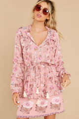 6 Ventura Nights Mauve Pink Floral Print Dress at reddress.com