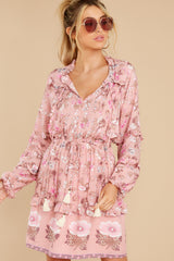5 Ventura Nights Mauve Pink Floral Print Dress at reddress.com
