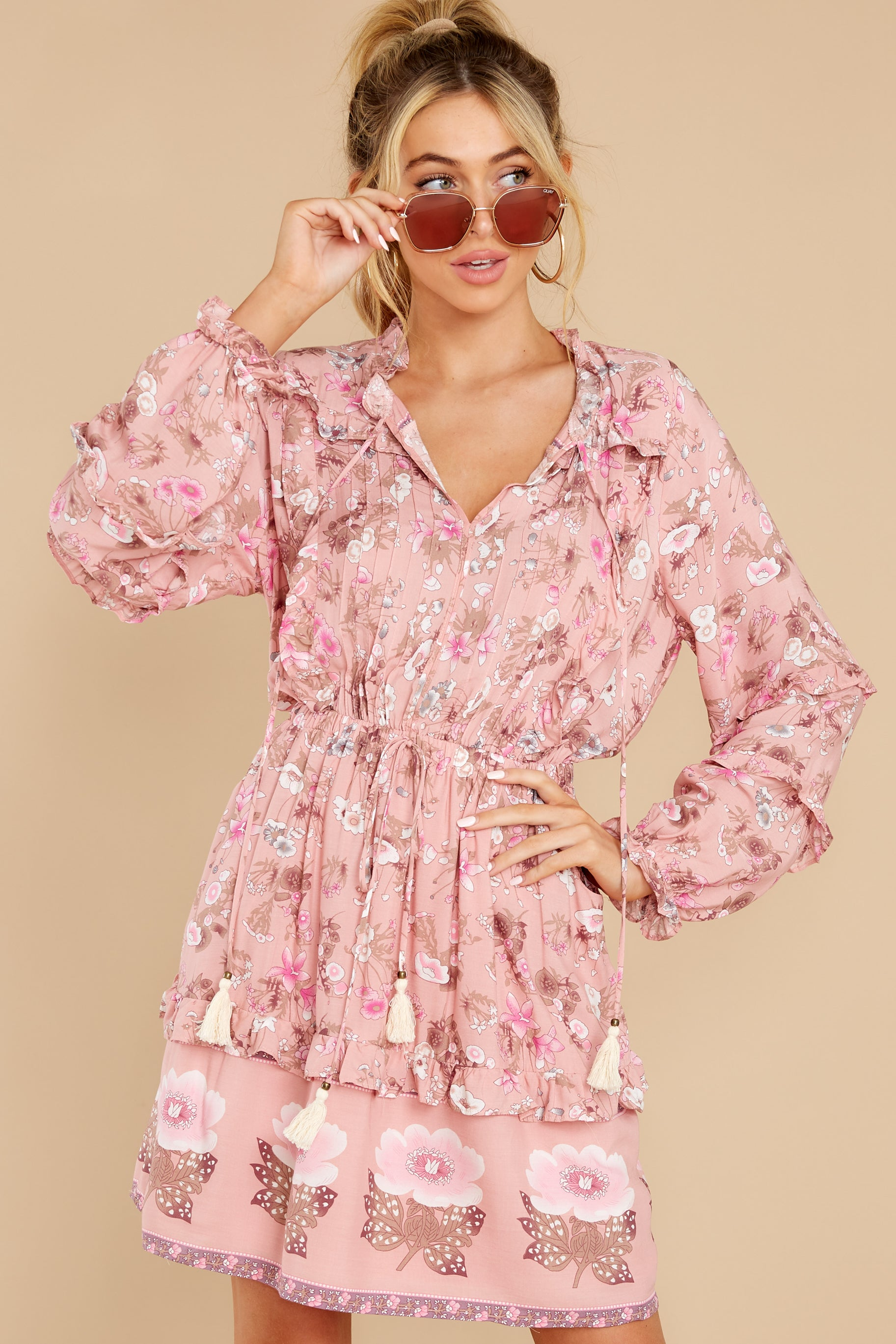 7 Ventura Nights Mauve Pink Floral Print Dress at reddress.com