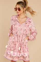 1 Ventura Nights Mauve Pink Floral Print Dress at reddress.com