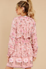 8 Ventura Nights Mauve Pink Floral Print Dress at reddress.com
