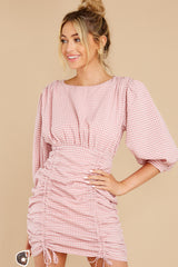 5 Picnic At Noon Blush Pink Gingham Dress at reddress.com
