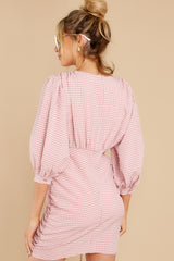 7 Picnic At Noon Blush Pink Gingham Dress at reddress.com