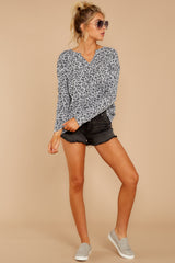 2 The Grey Leopard Waffle Split Neck Thermal at reddressboutique.com