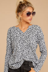 4 The Grey Leopard Waffle Split Neck Thermal at reddressboutique.com