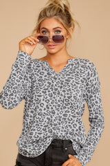 5 The Grey Leopard Waffle Split Neck Thermal at reddressboutique.com