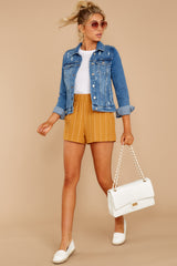 10 Good Life Mustard Stripe Shorts at reddressboutique.com