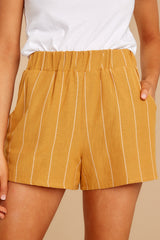 1 Good Life Mustard Stripe Shorts at reddressboutique.com