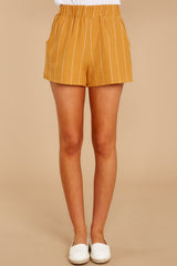 2 Good Life Mustard Stripe Shorts at reddressboutique.com