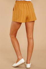 3 Good Life Mustard Stripe Shorts at reddressboutique.com