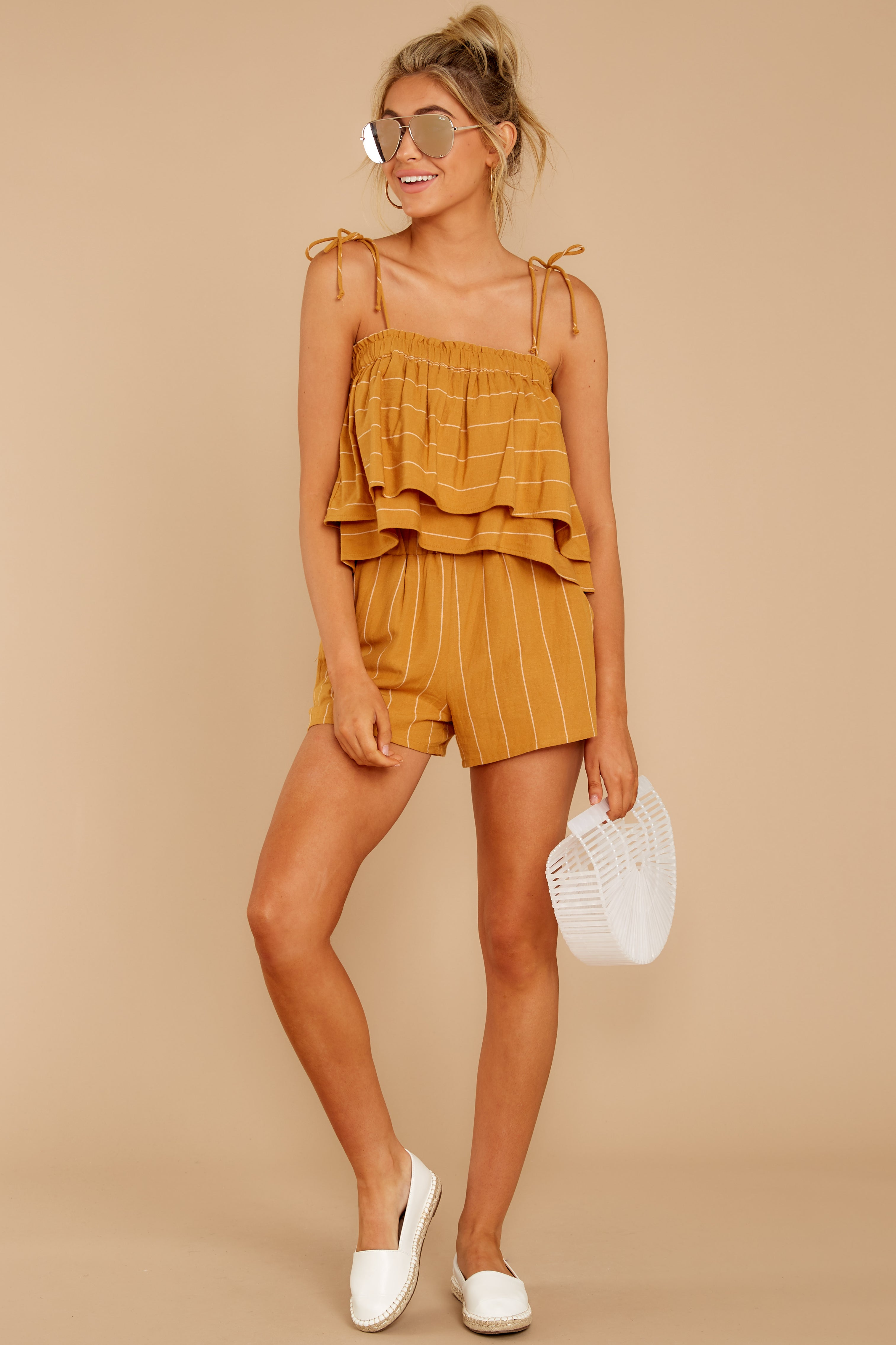 5 Good Life Mustard Stripe Shorts at reddress.com