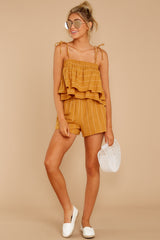 5 Good Life Mustard Stripe Shorts at reddressboutique.com