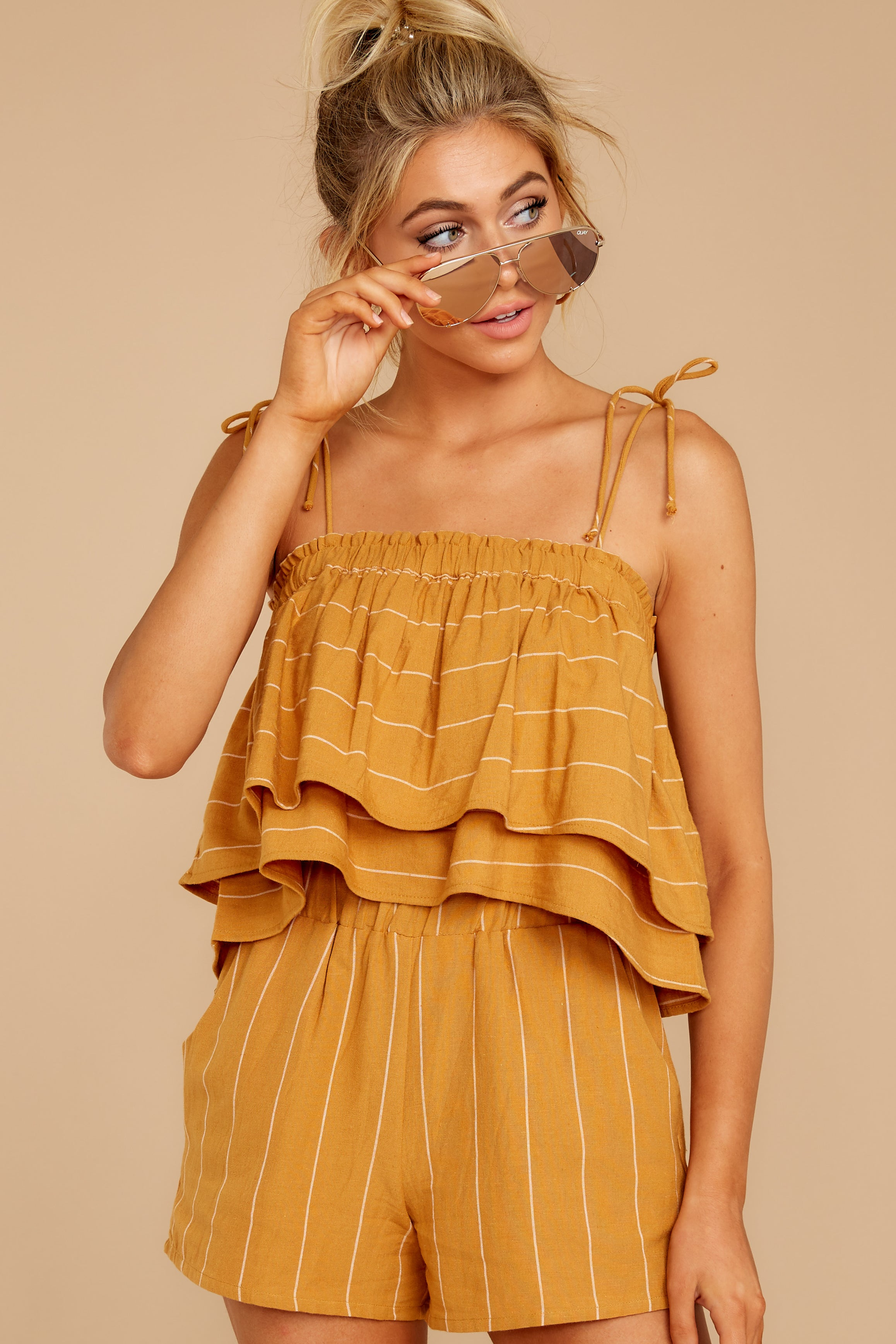 4 Good Life Mustard Stripe Shorts at reddress.com