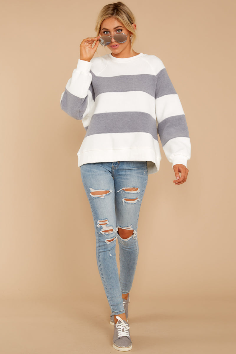 One More Thing Grey And White Stripe Pullover