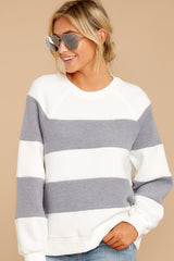 4 One More Thing Grey And White Stripe Pullover at reddressboutique.com