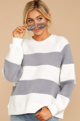 5 One More Thing Grey And White Stripe Pullover at reddressboutique.com