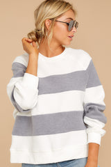 6 One More Thing Grey And White Stripe Pullover at reddressboutique.com
