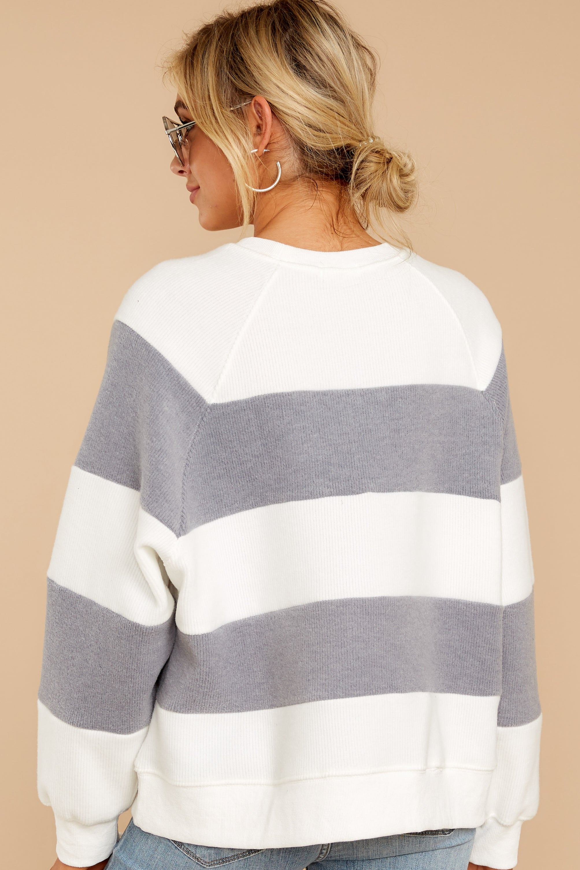 7 One More Thing Grey And White Stripe Pullover at reddressboutique.com