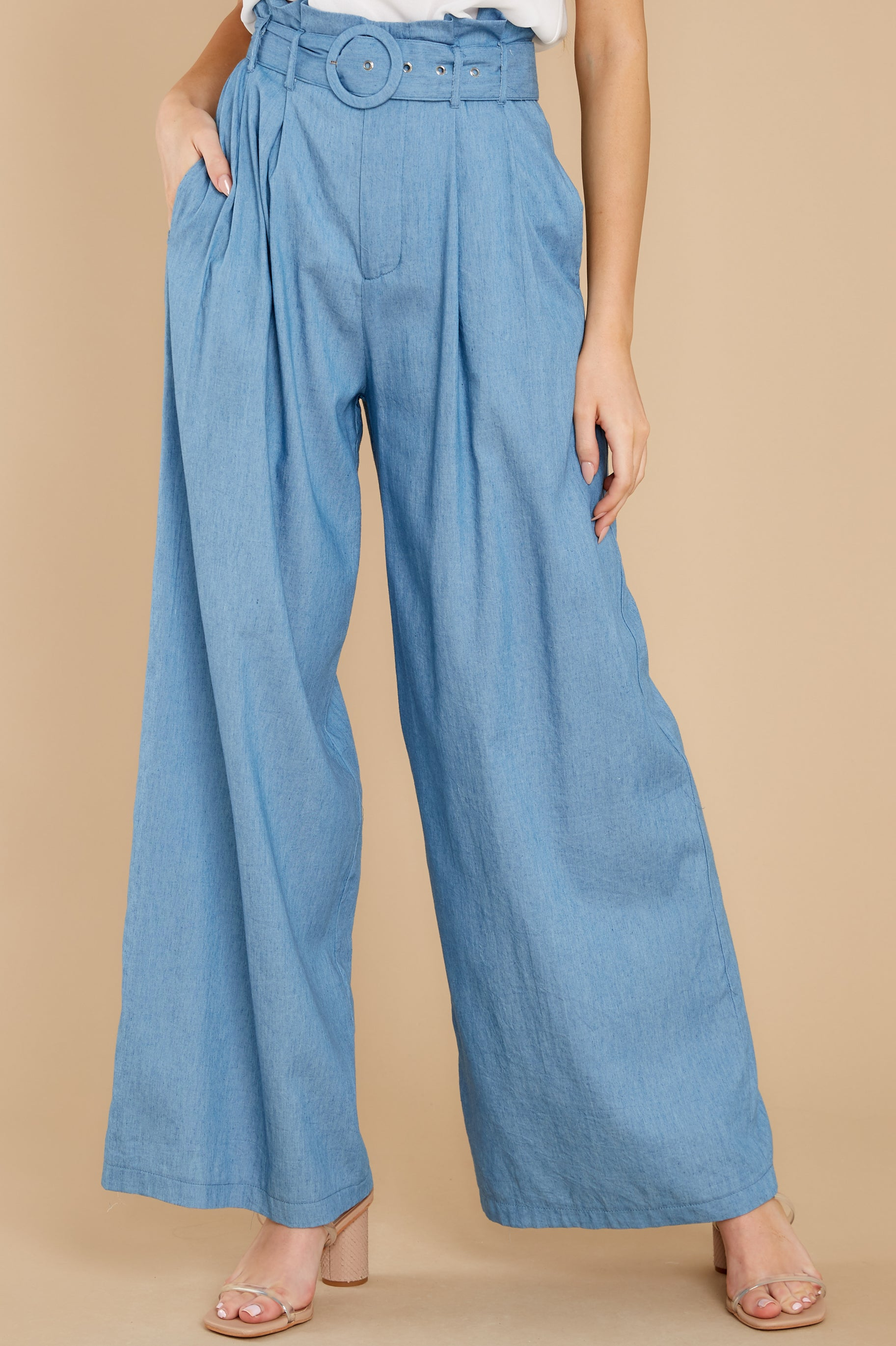 80s Jeans, Pants, Leggings Coming On Strong Chambray Pants Blue $42.00 AT vintagedancer.com