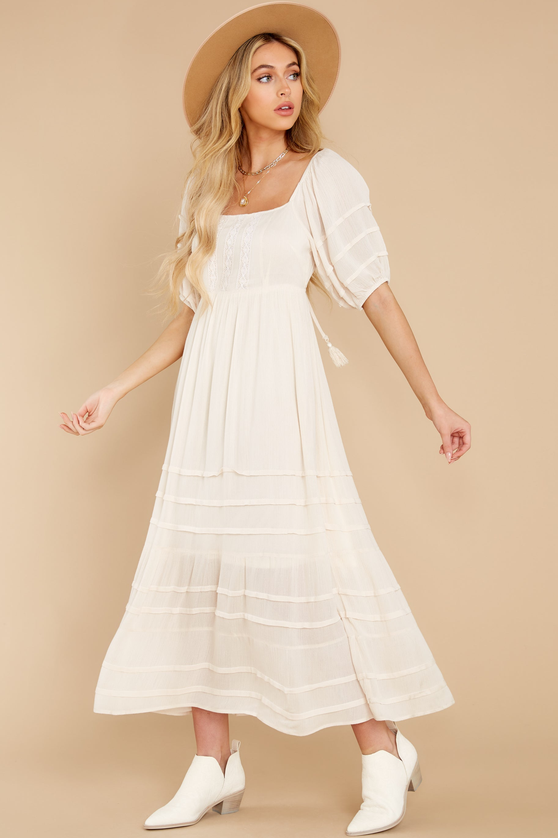 4 Long Way Around Ivory Maxi Dress at reddress.com