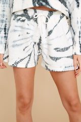 1 Don't Blink Black Tie Dye Lounge Shorts at reddress.com