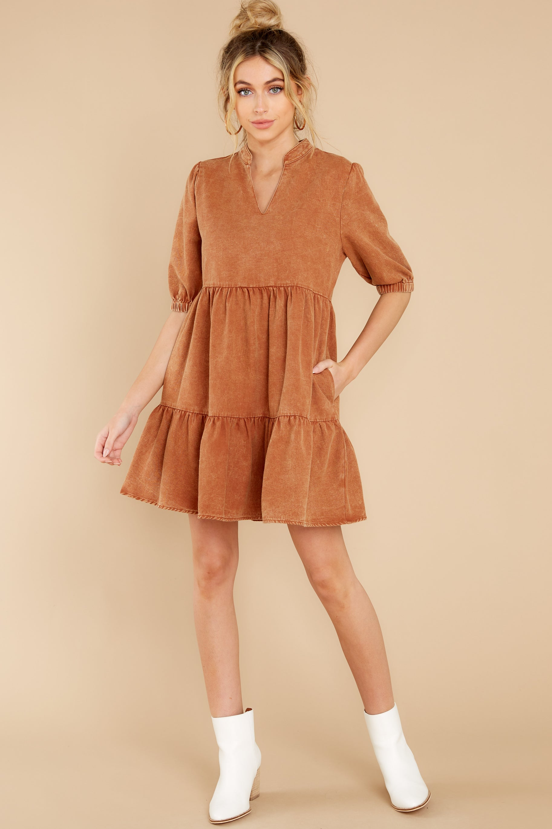 1 Not So Basic Caramel Brown Dress at reddress.com