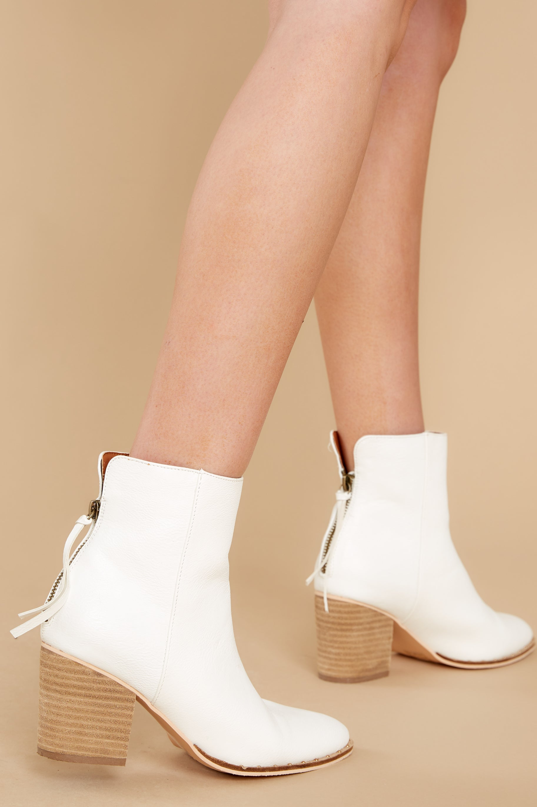 Sexy White Ankle Boots - Vegan Suede