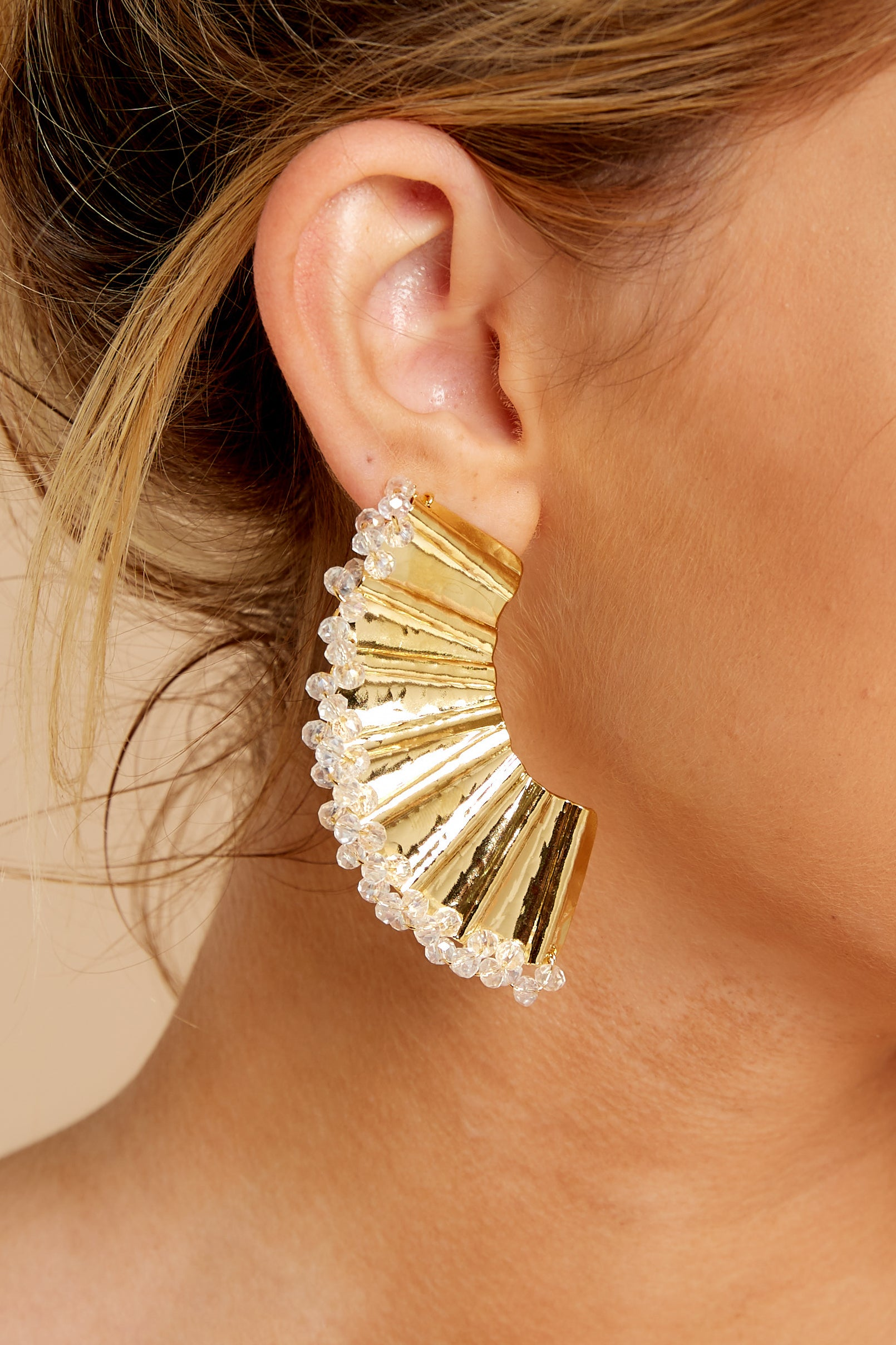 1 New Groove Gold Earrings at reddressboutique.com