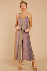 7 Casually Chic Violet Multi Floral Print Jumpsuit at reddress.com