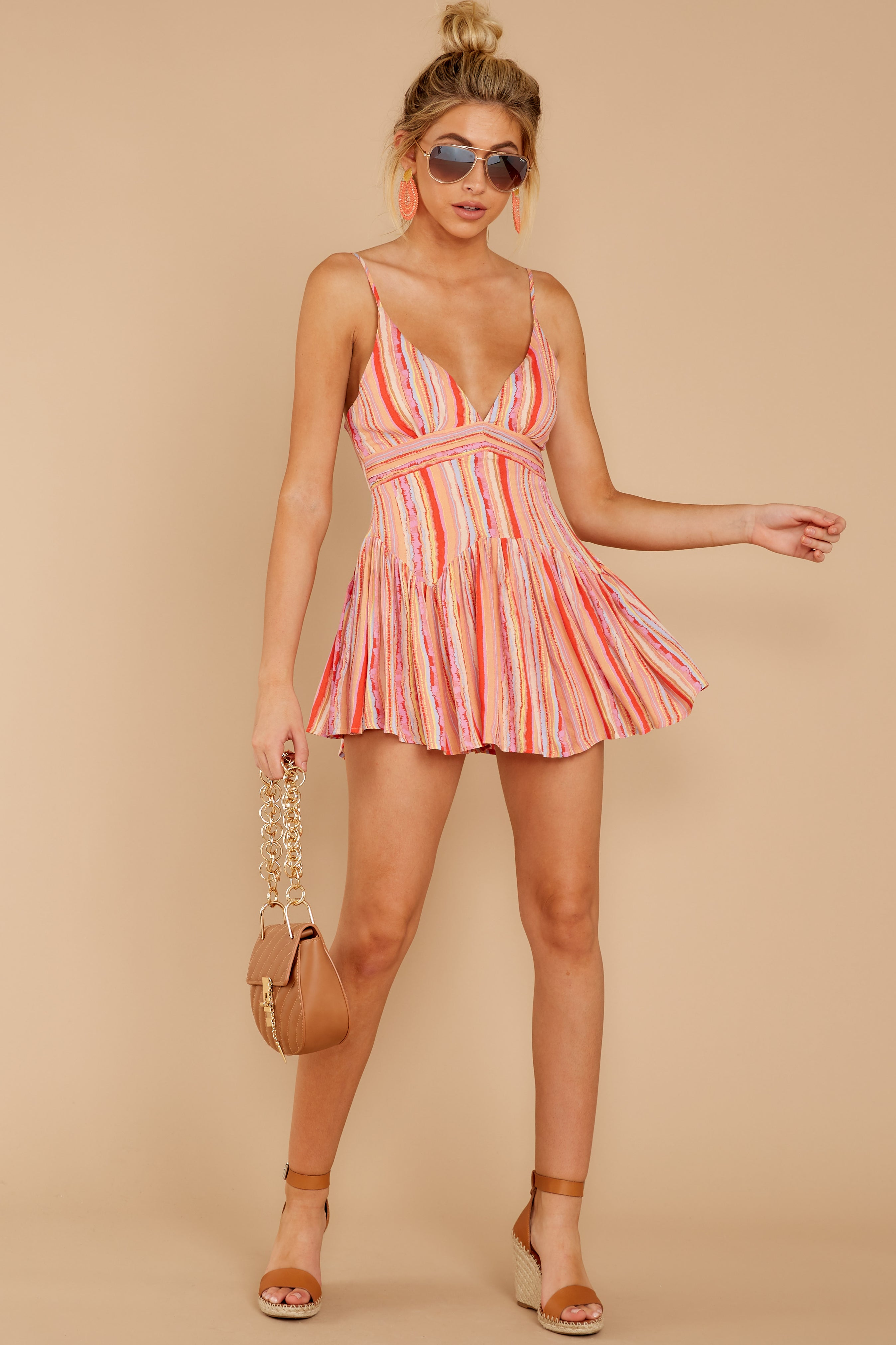 1 In The Sunshine Coral Multi Romper at reddress.com