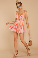 2 In The Sunshine Coral Multi Romper at reddress.com