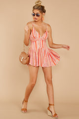 3 In The Sunshine Coral Multi Romper at reddress.com