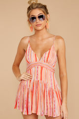 5 In The Sunshine Coral Multi Romper at reddress.com