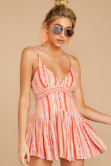 6 In The Sunshine Coral Multi Romper at reddress.com