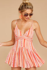 7 In The Sunshine Coral Multi Romper at reddress.com