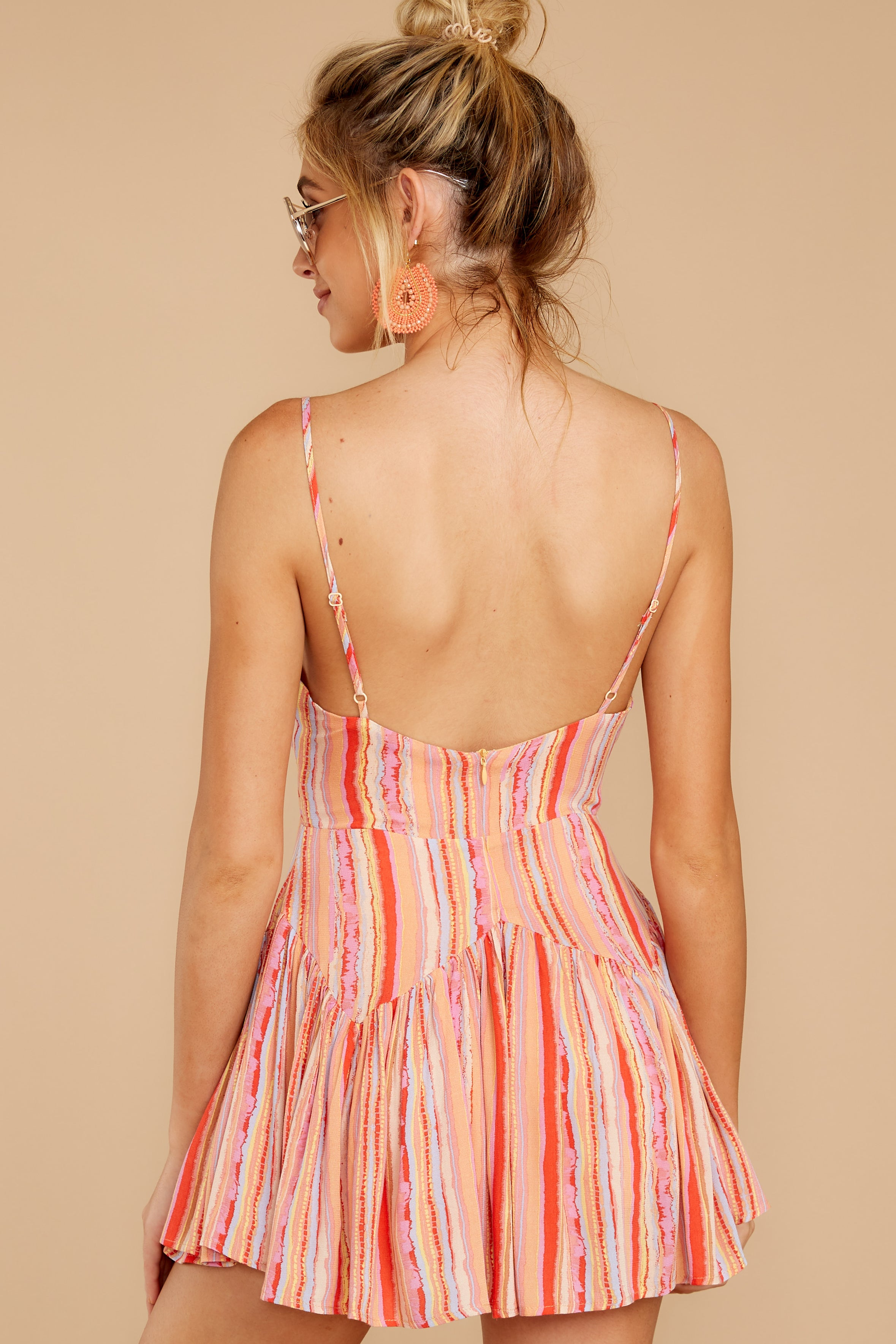 9 In The Sunshine Coral Multi Romper at reddress.com