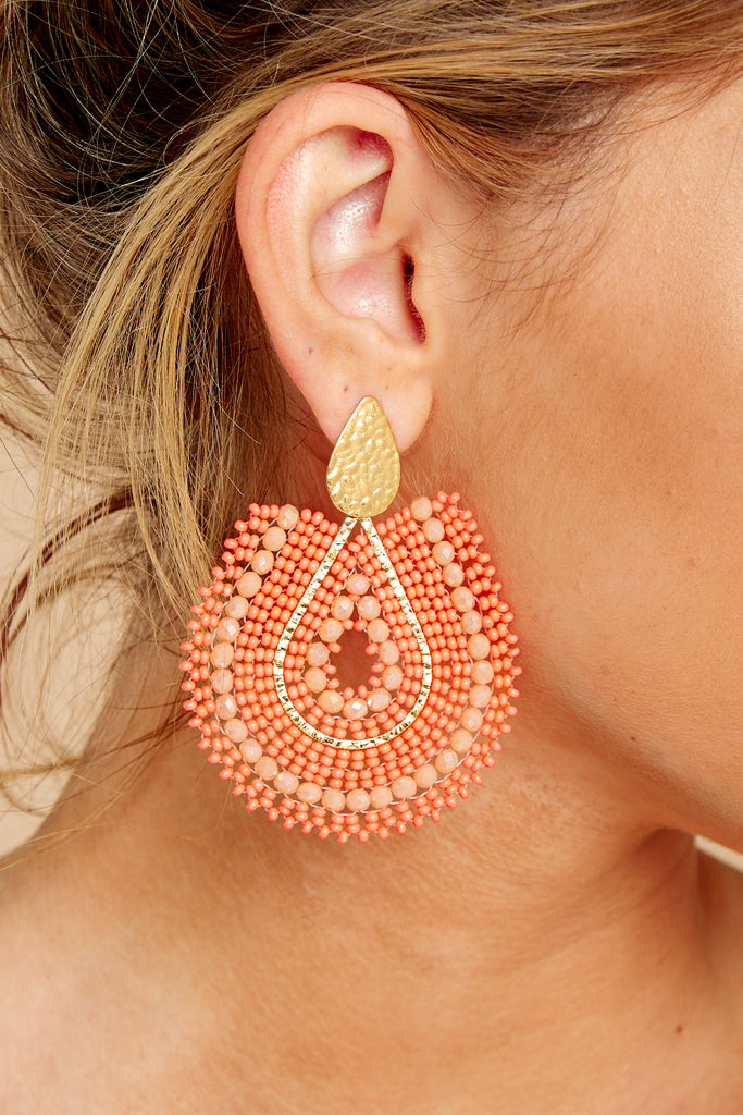 1 Across The Room Orange Beaded Earrings at reddressboutique.com